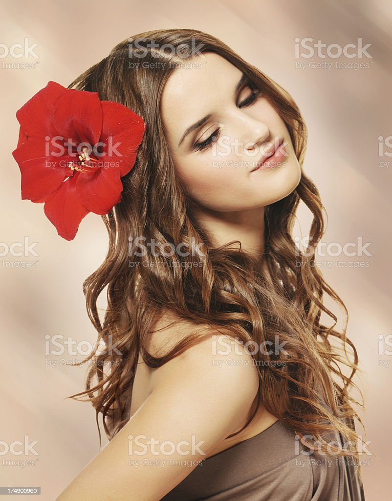 Portrait of a beautiful brunette royalty-free stock photo