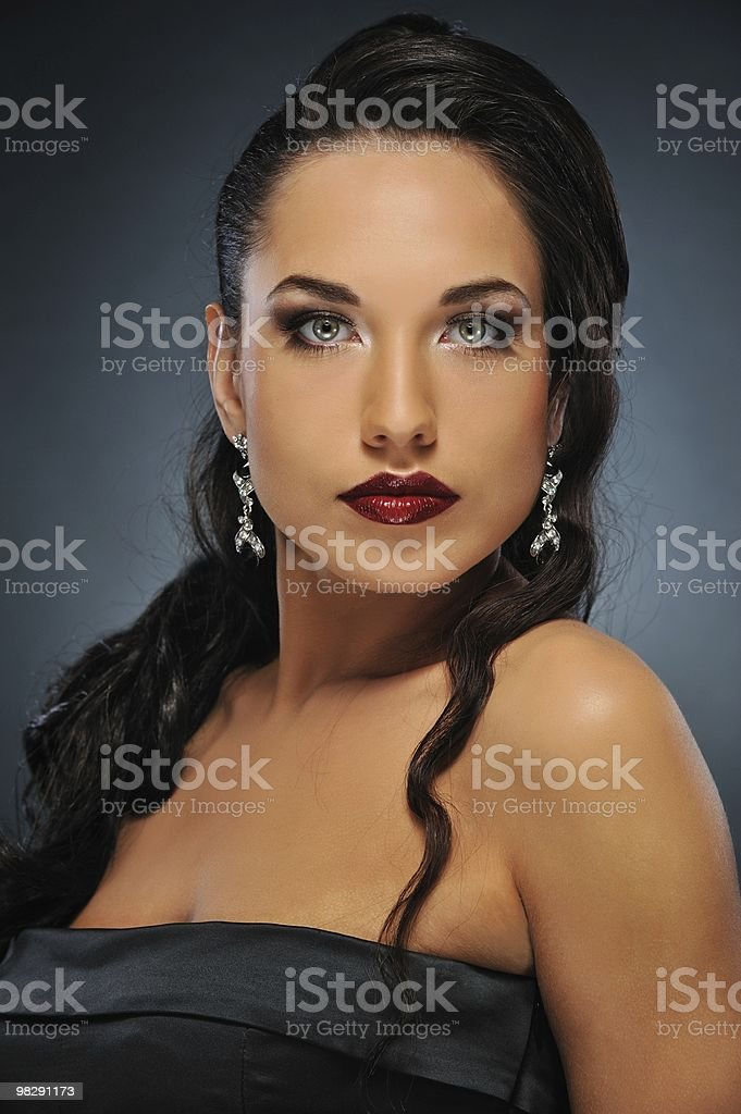 Portrait of a beautiful brunette woman royalty-free stock photo