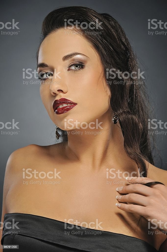 Portrait of a beautiful brunette woman royalty-free stock photo