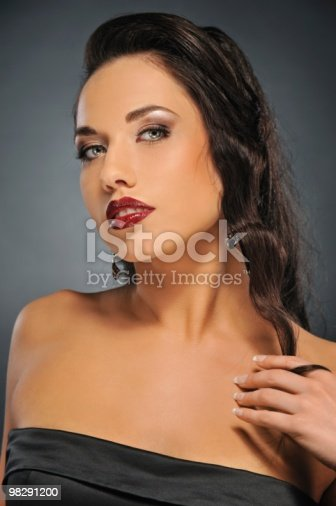 Portrait Of A Beautiful Brunette Woman Stock Photo & More Pictures of Adult