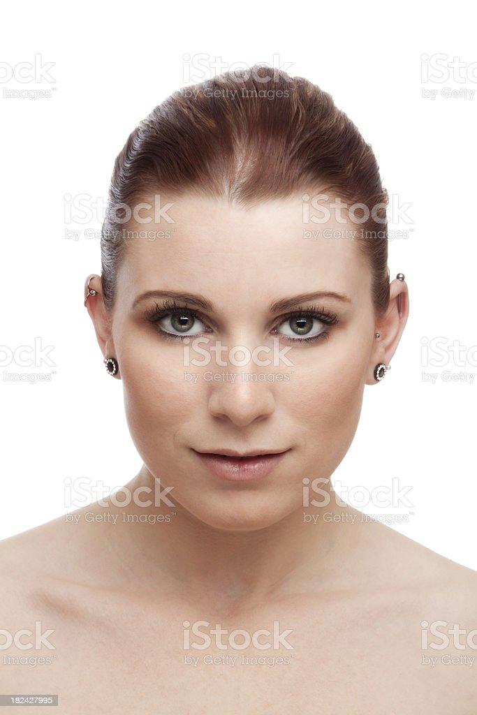 Portrait of a beautiful caucasian redhead woman on white stock photo