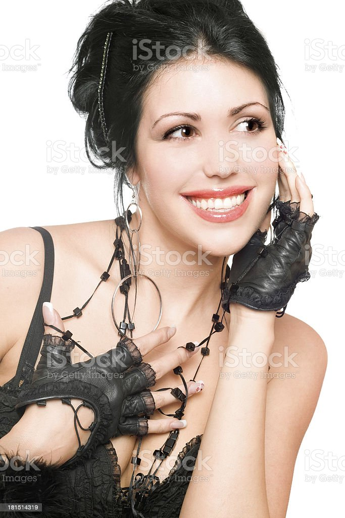 Portrait of a beautiful cheerful brunette royalty-free stock photo