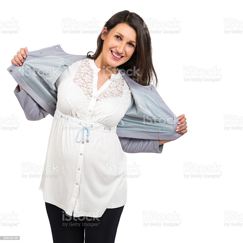 Portrait of a beautiful cheerful pregnant woman stock photo