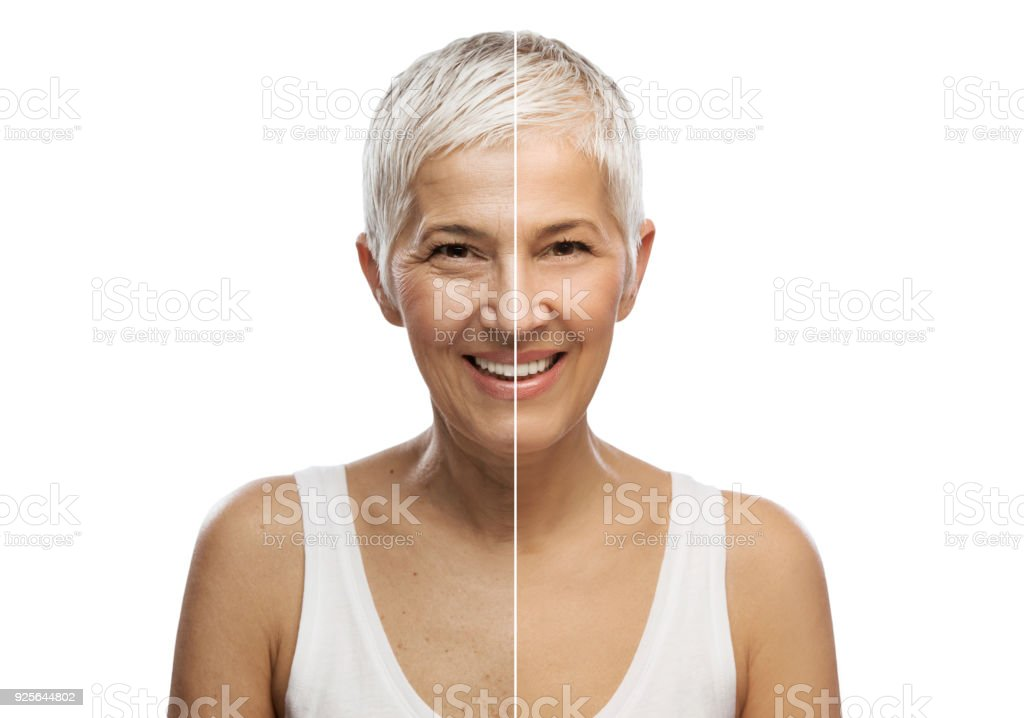 Portrait of a beautiful elderly woman, aging concept, isolated on white background stock photo