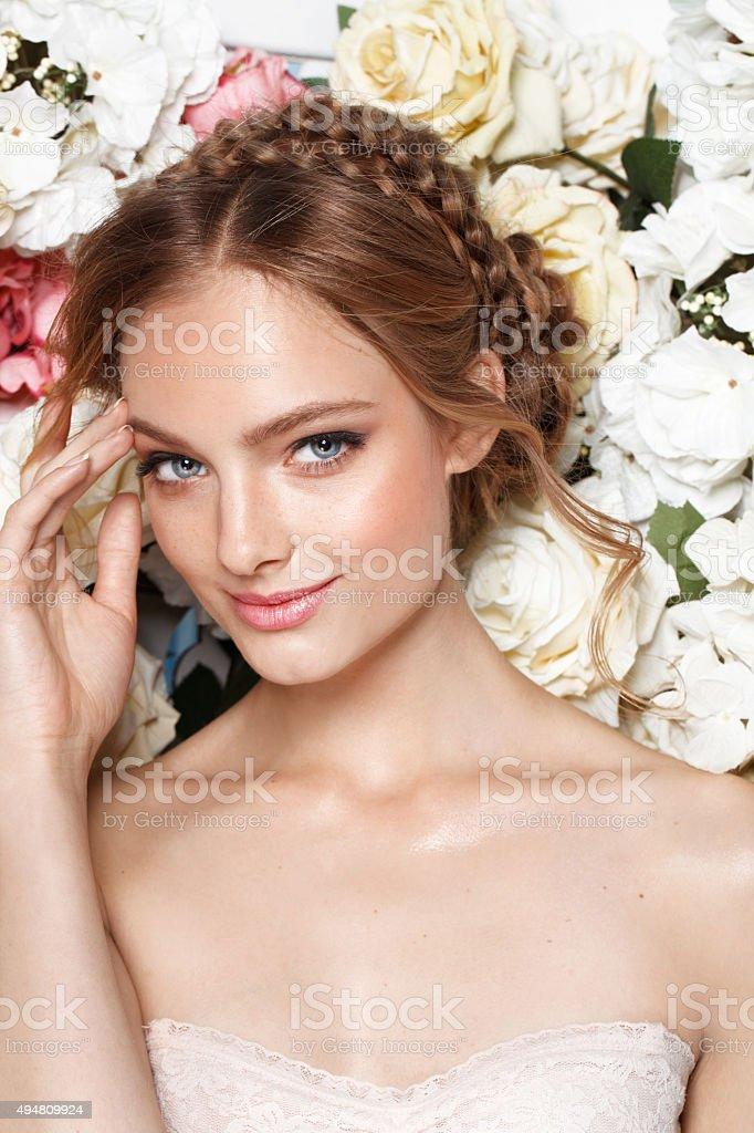 Portrait of a beautiful fashion bride, sweet and sensual. stock photo