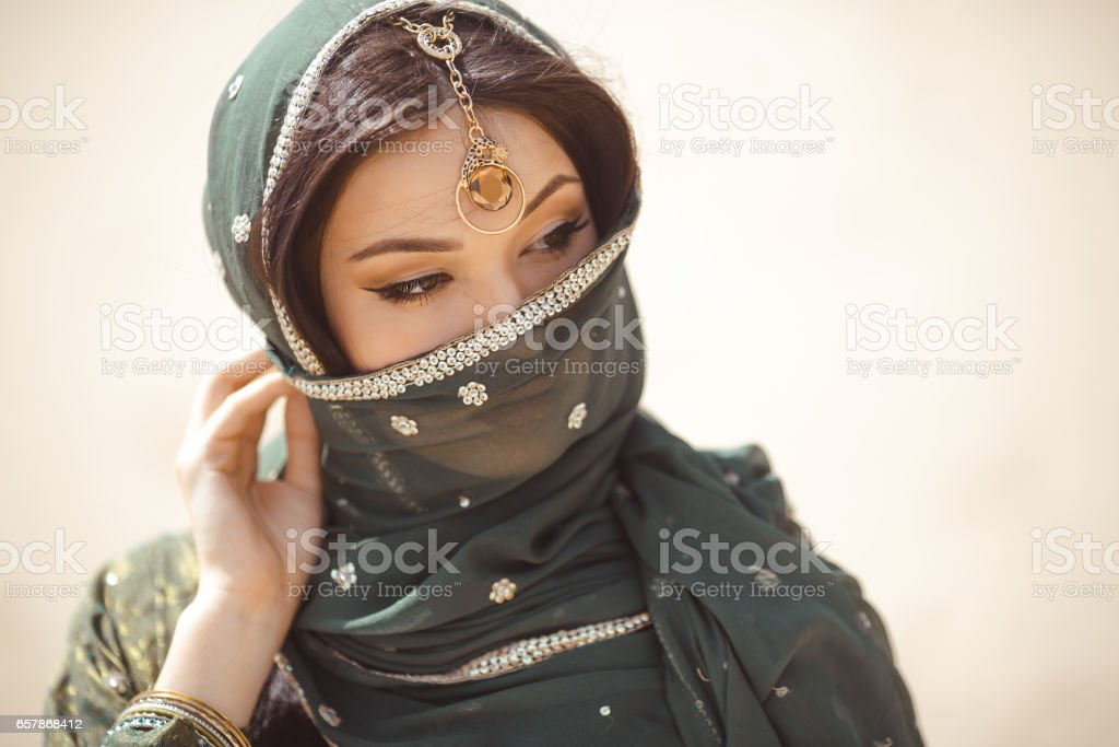 Portrait of a beautiful female model in traditional ethnic costume with heavy jewellery and makeup stock photo