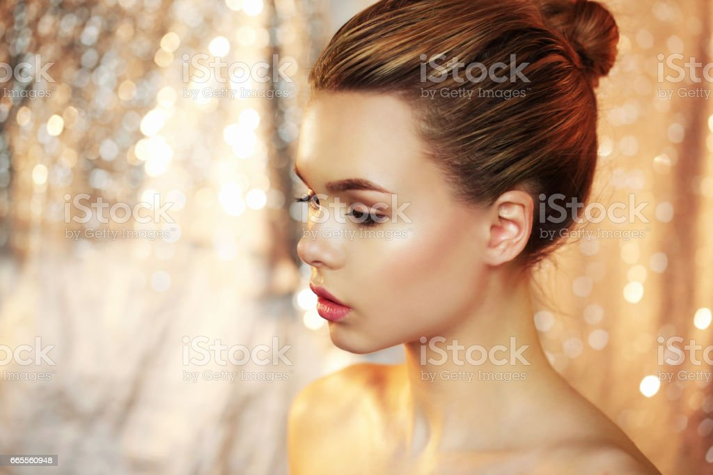 Portrait of a beautiful girl close-up, with clean fair skin. stock photo