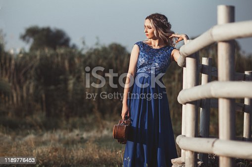 portrait of a beautiful girl in a long dress with a violin near a wooden painted fence, a young woman walks with a musical instrument outdoors