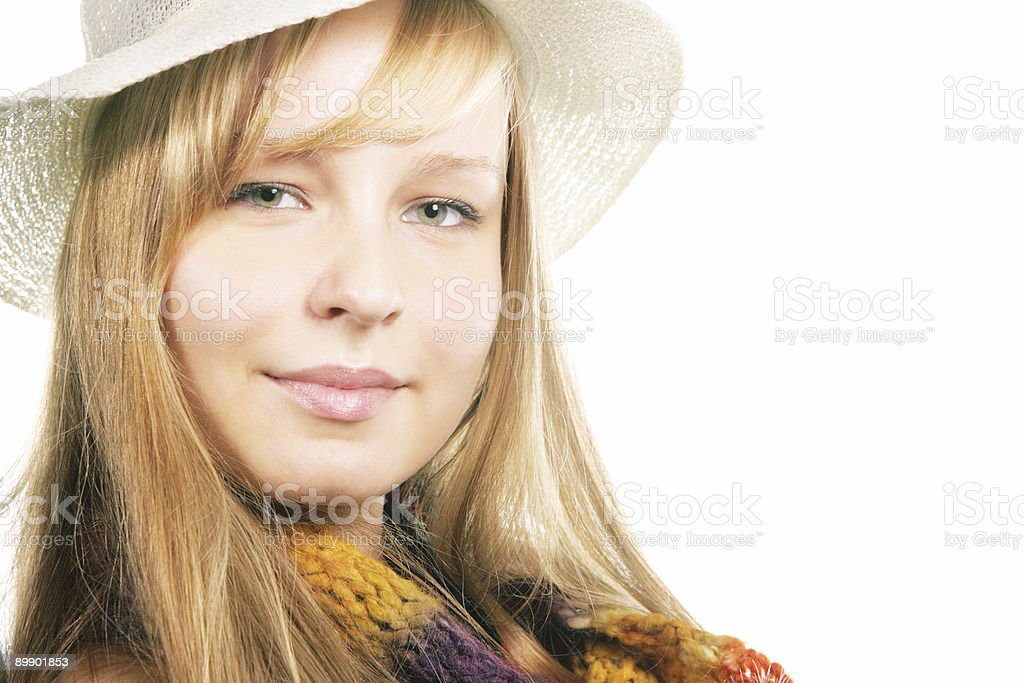 Portrait of a beautiful girl in hat royalty-free stock photo