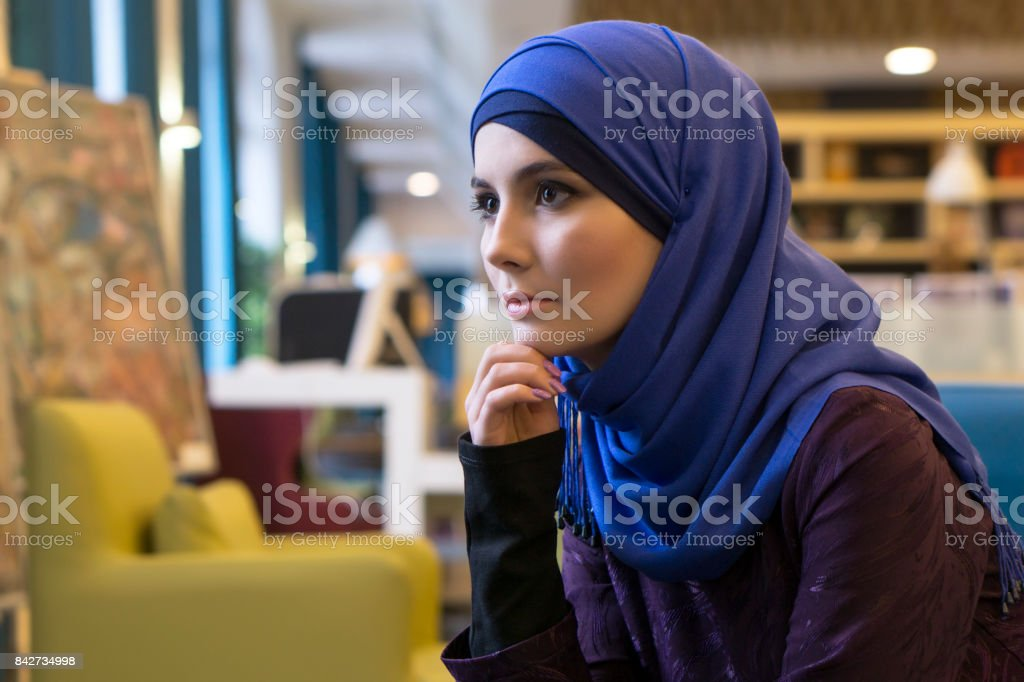 Portrait of a beautiful girl of Middle Eastern appearance stock photo