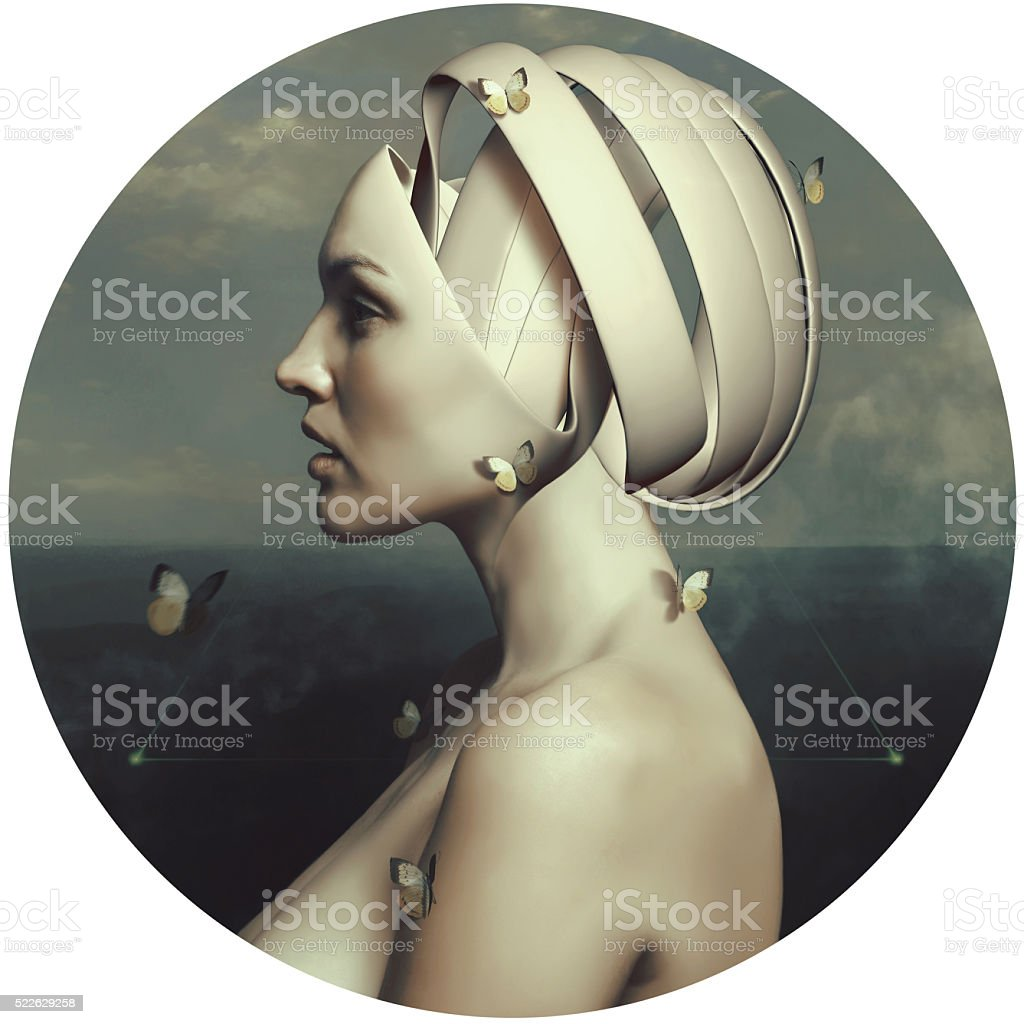 Portrait of a beautiful girl. Surrealism. Computer art. Thoughts stock photo