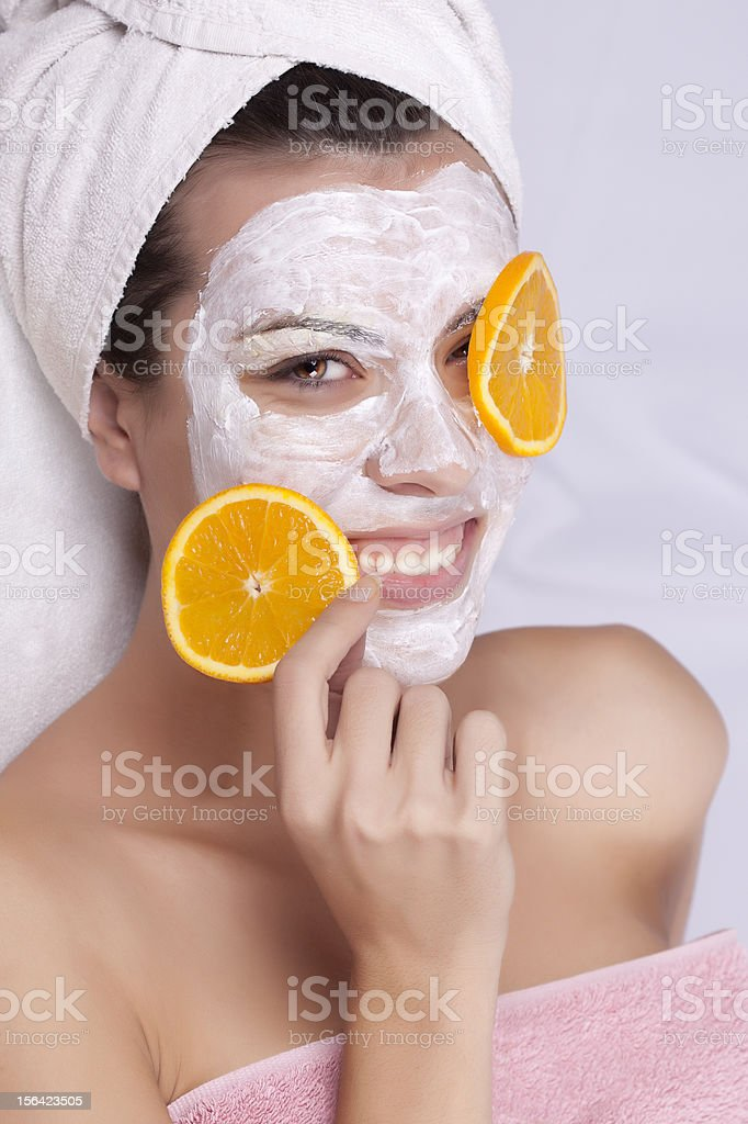 Portrait of a beautiful girl with facial mask royalty-free stock photo