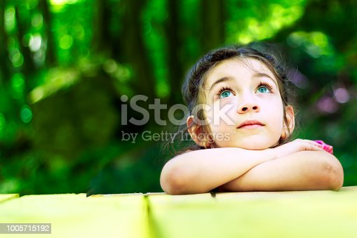Portrait of a beautiful little girl in the forest