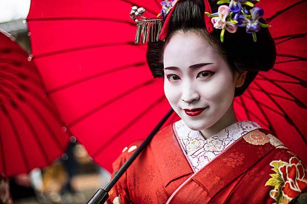 portrait of a beautiful maiko - geisha girl stock photos and pictures