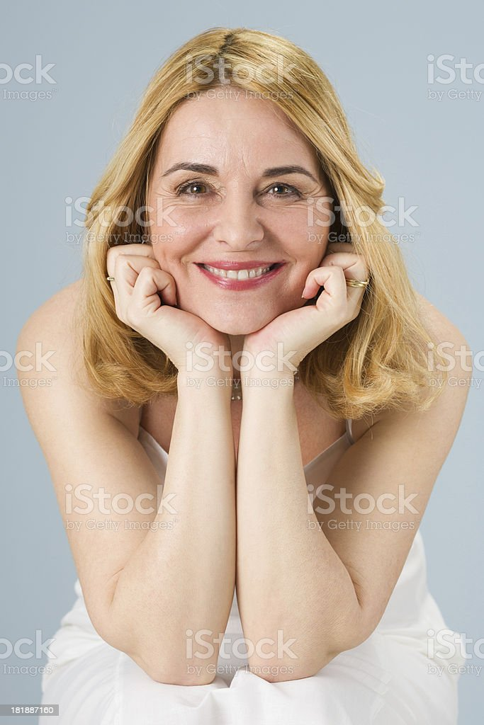 Portrait of a beautiful middle aged woman stock photo