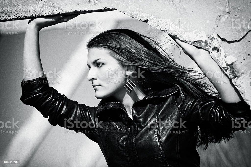 Portrait of a beautiful purposeful girl royalty-free stock photo