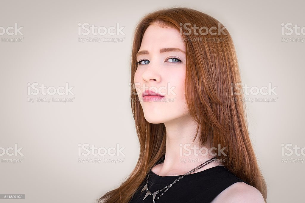Portrait of a beautiful , redhead girl stock photo