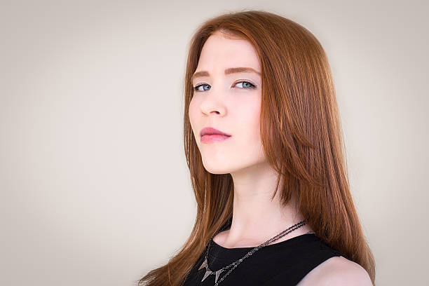Portrait of a beautiful , redhead girl stock photo
