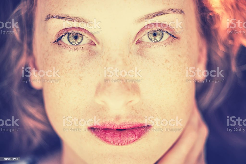 Portrait of a beautiful redhead girl royalty-free stock photo