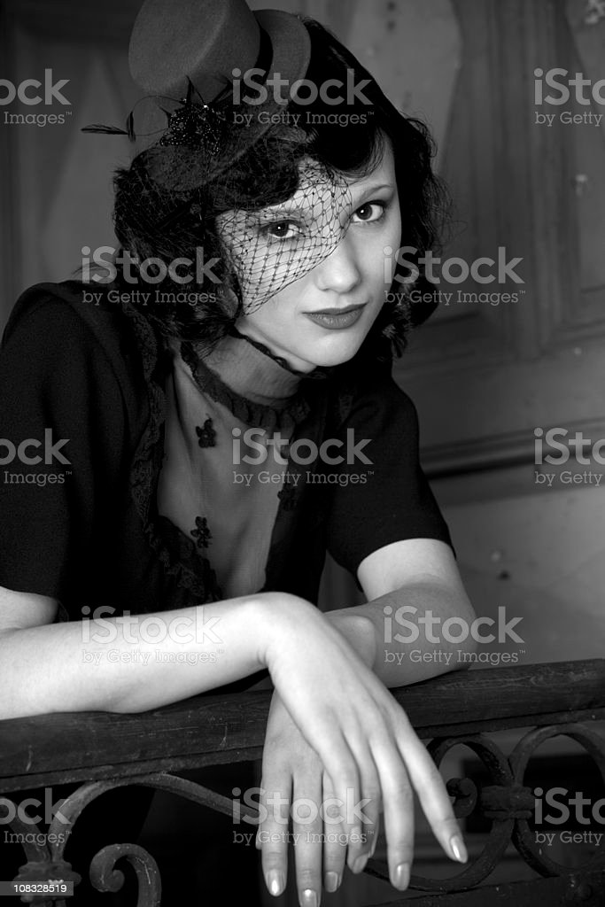 Portrait of a beautiful retro styled woman royalty-free stock photo