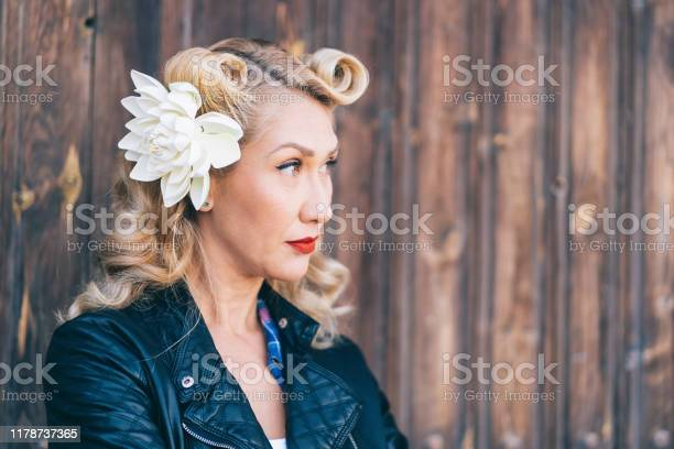 Portrait of a Beautiful rockabilly woman. Pin up retro style
