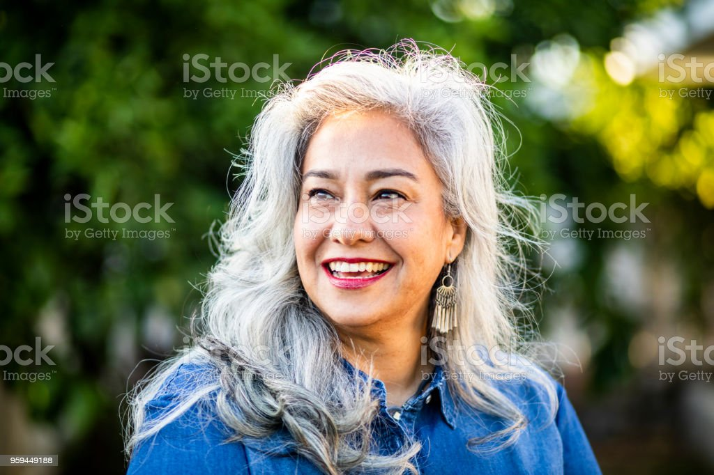 Portrait of a Beautiful Senior Mexican Woman stock photo