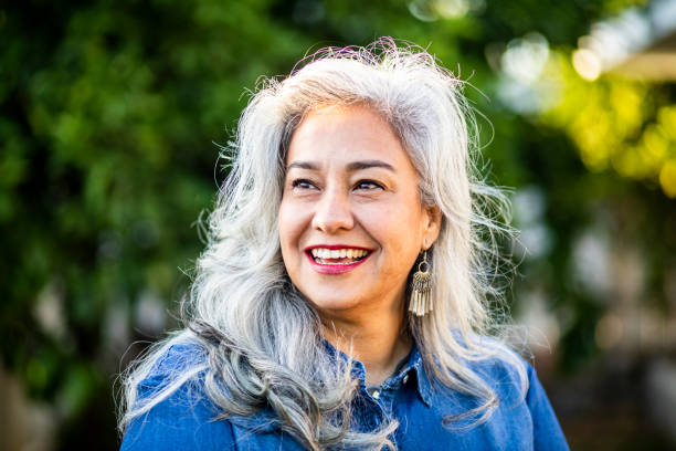 Portrait of a Beautiful Senior Mexican Woman Portrait of a beautiful white-haired senior mexican woman mexican culture stock pictures, royalty-free photos & images