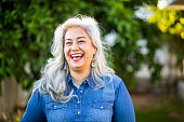 Portrait of a beautiful white-haired senior mexican woman