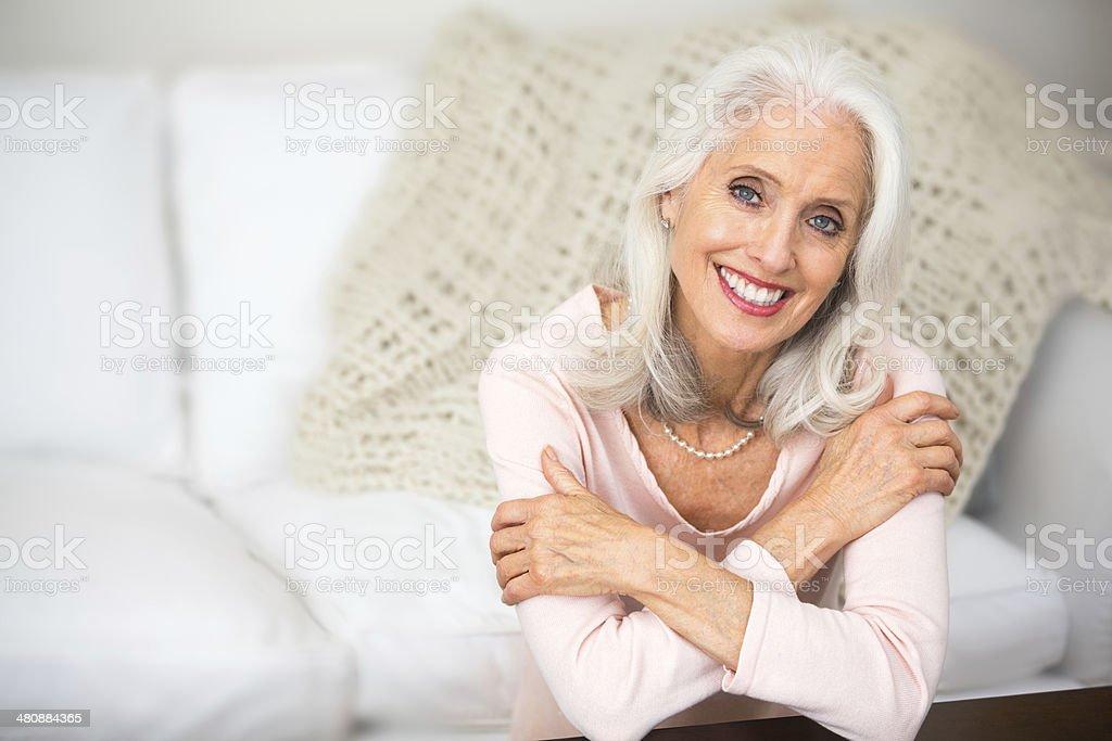 Portrait of a beautiful senior woman. stock photo