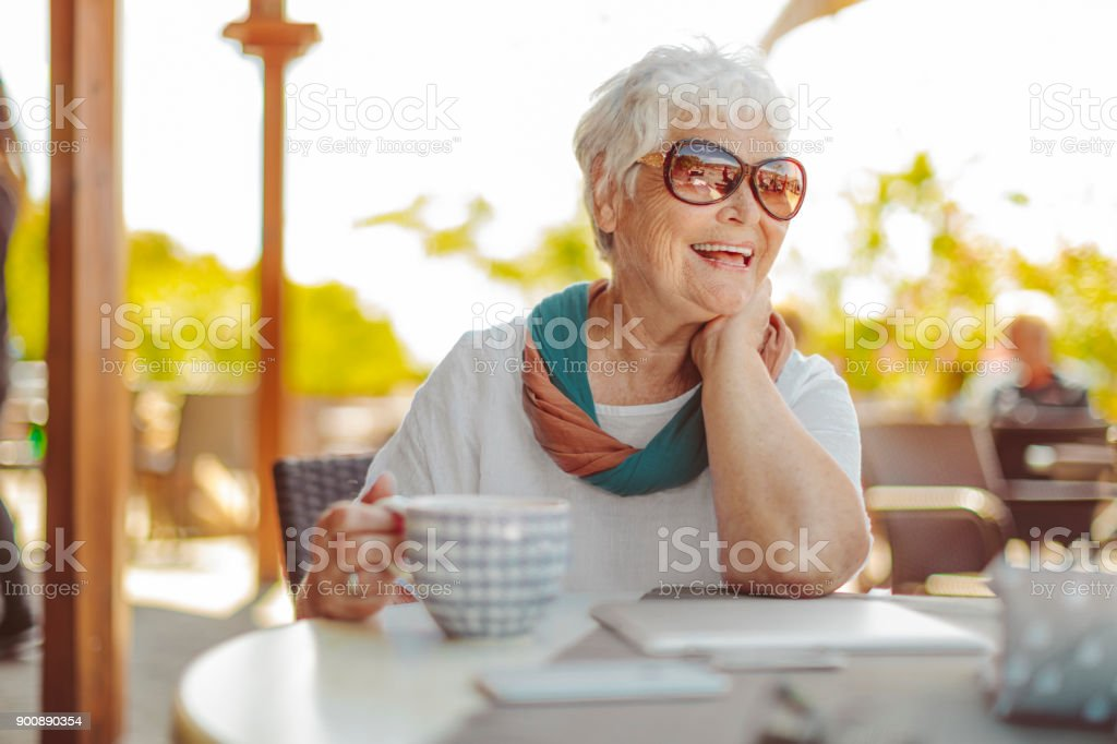 Portrait of a beautiful senior woman stock photo