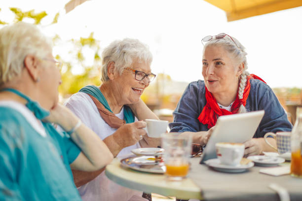 portrait of a beautiful senior women - elderly group stock photos and pictures