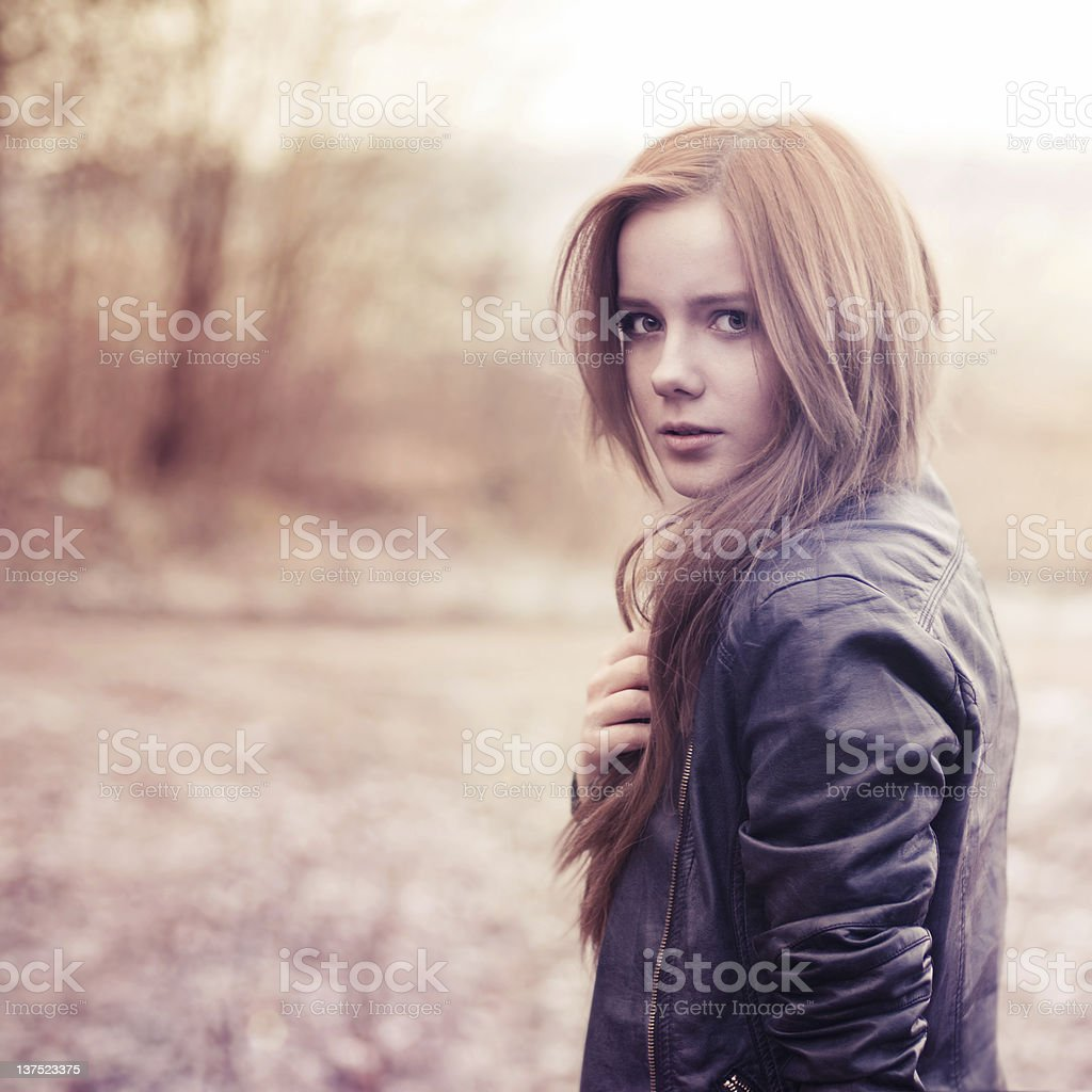 A portrait of a beautiful sexy girl wearing leather royalty-free stock photo