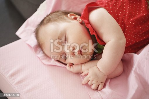 133910422 istock photo Portrait of a beautiful sleeping baby 969920918