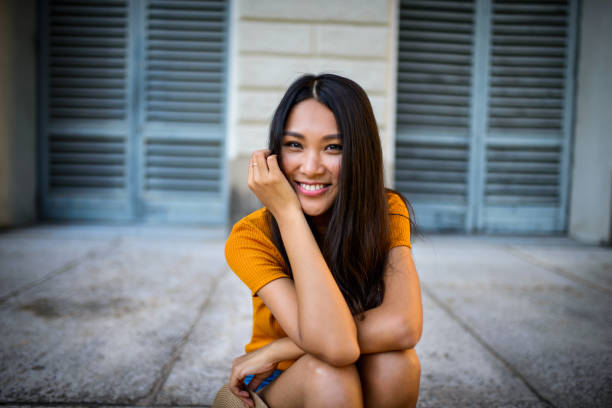 Portrait of a beautiful smiling woman. stock photo