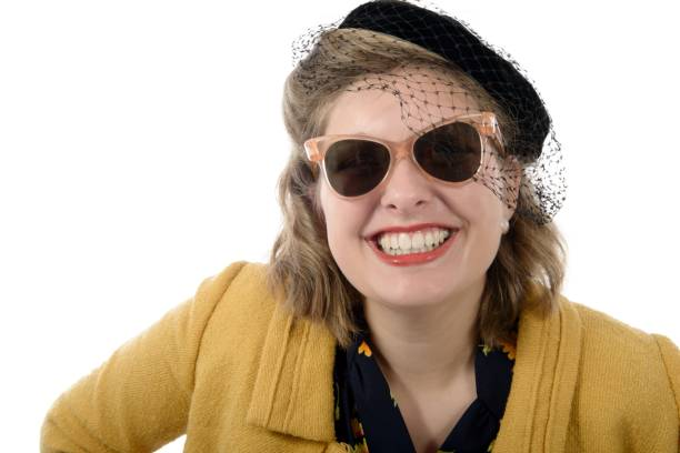 Portrait of a beautiful smiling woman with vintage clothes stock photo
