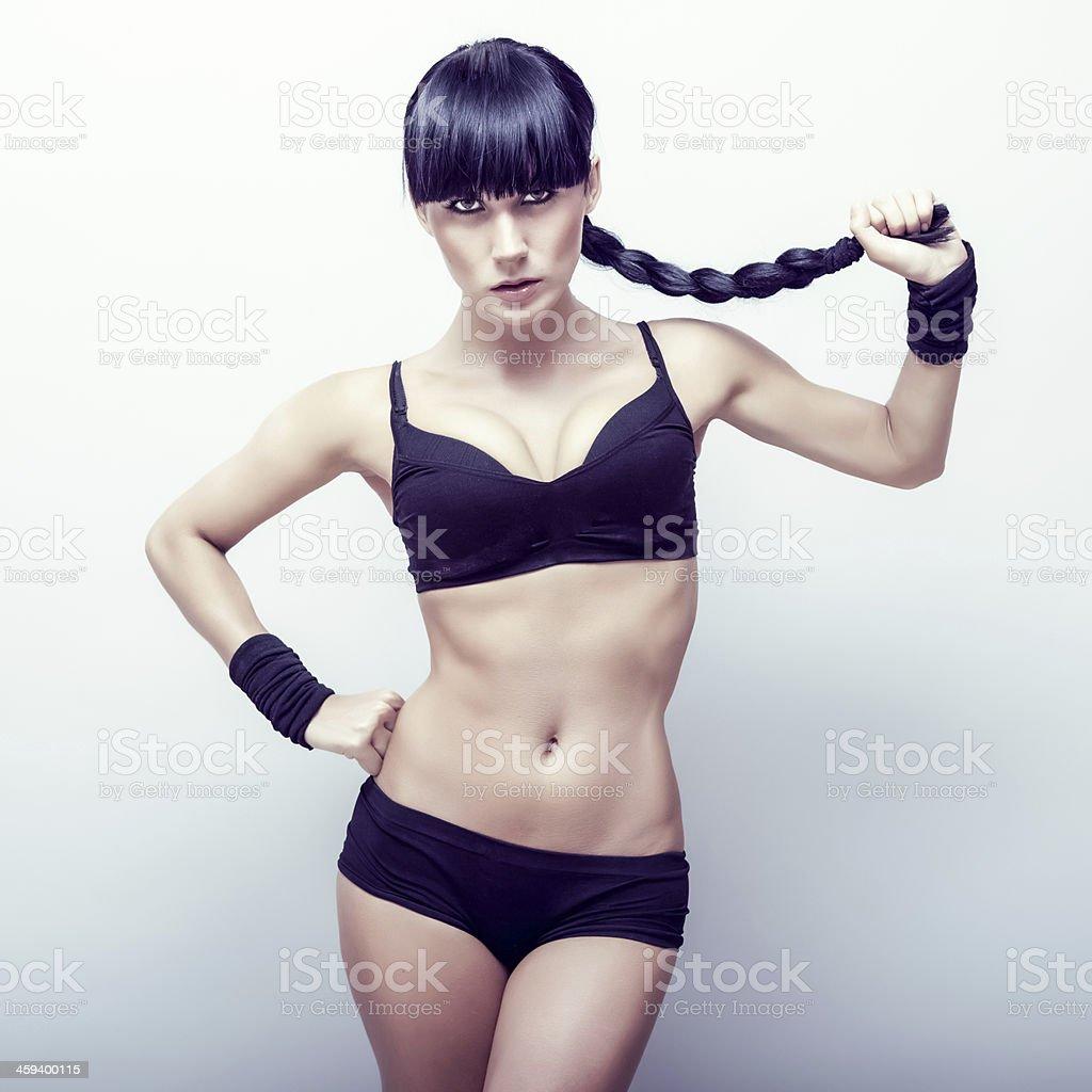 portrait of a beautiful sports girl stock photo