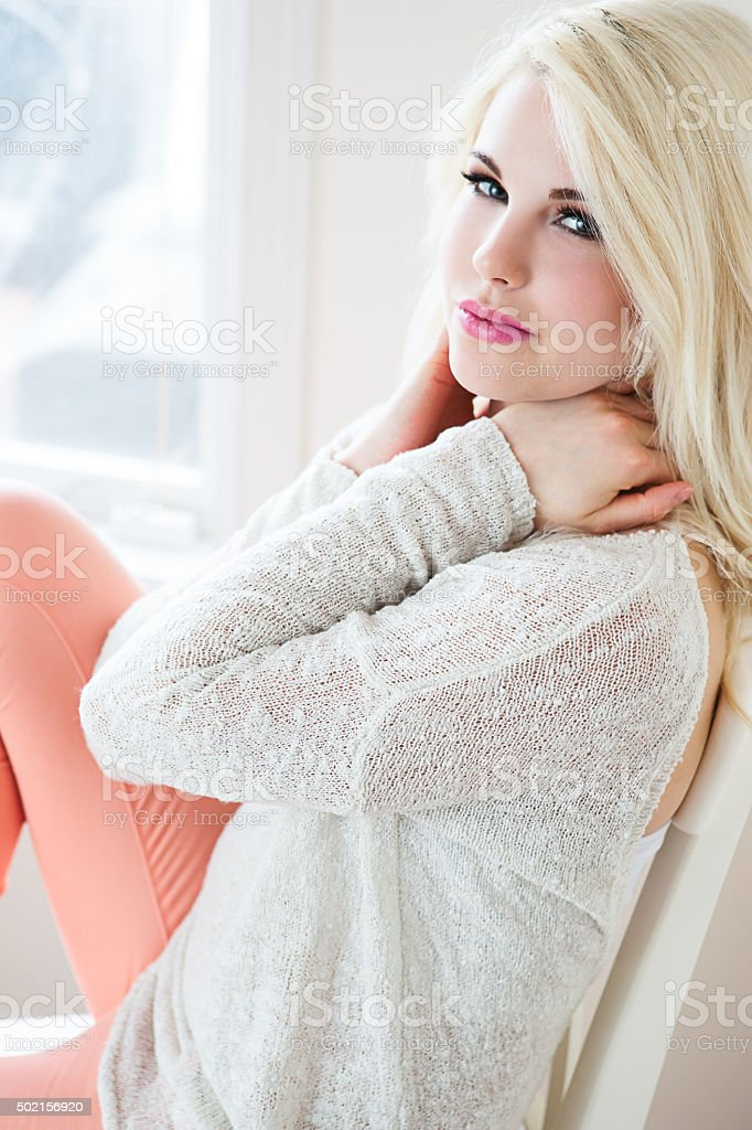 Portrait of a beautiful teenage fashion model stock photo
