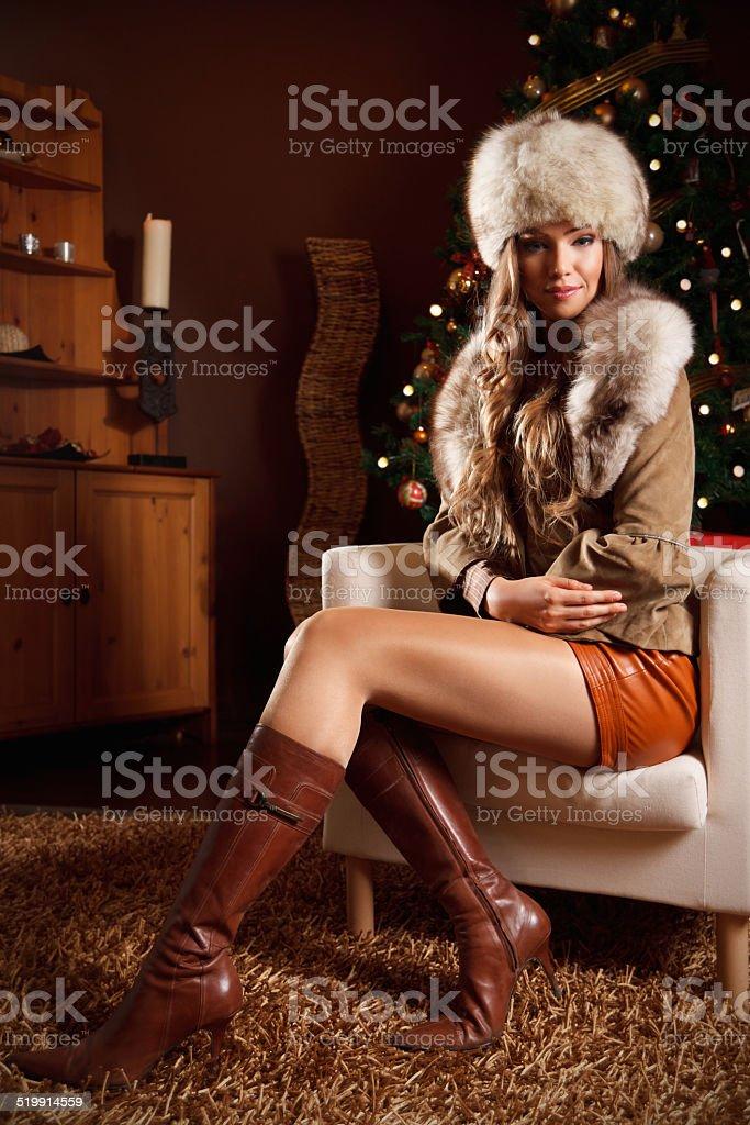 Portrait of a beautiful wealthy woman stock photo