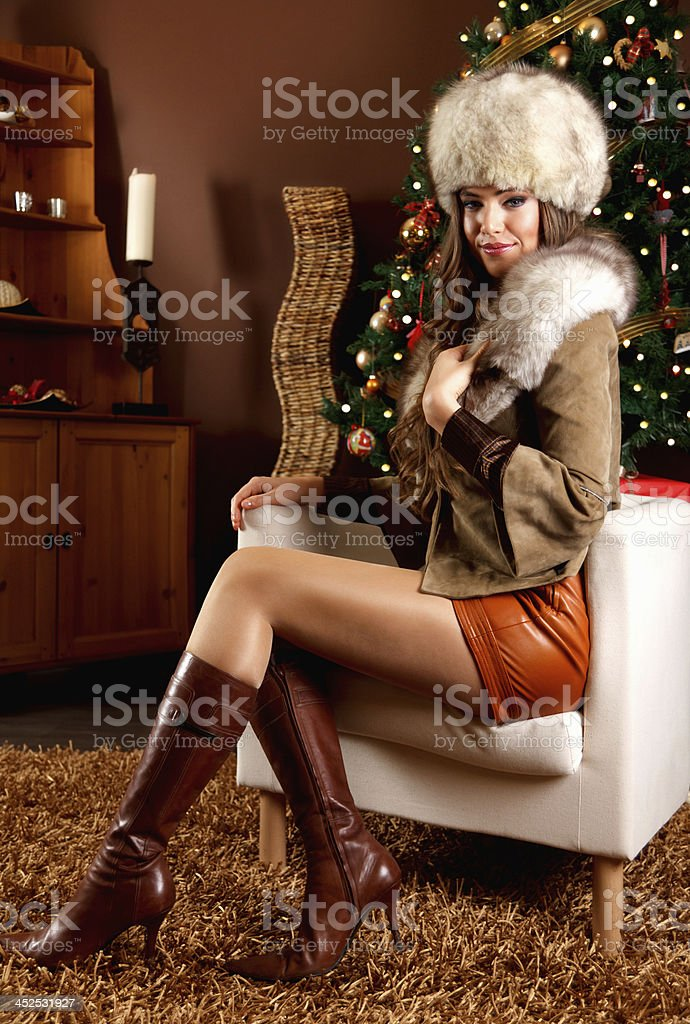 Portrait of a beautiful woman at Christmas stock photo