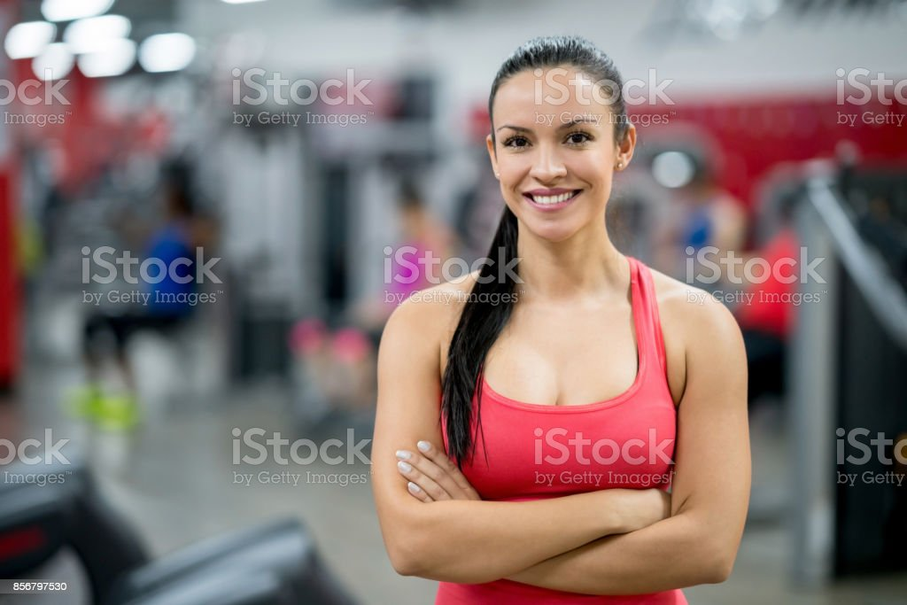Portrait of a beautiful woman at the gym stock photo