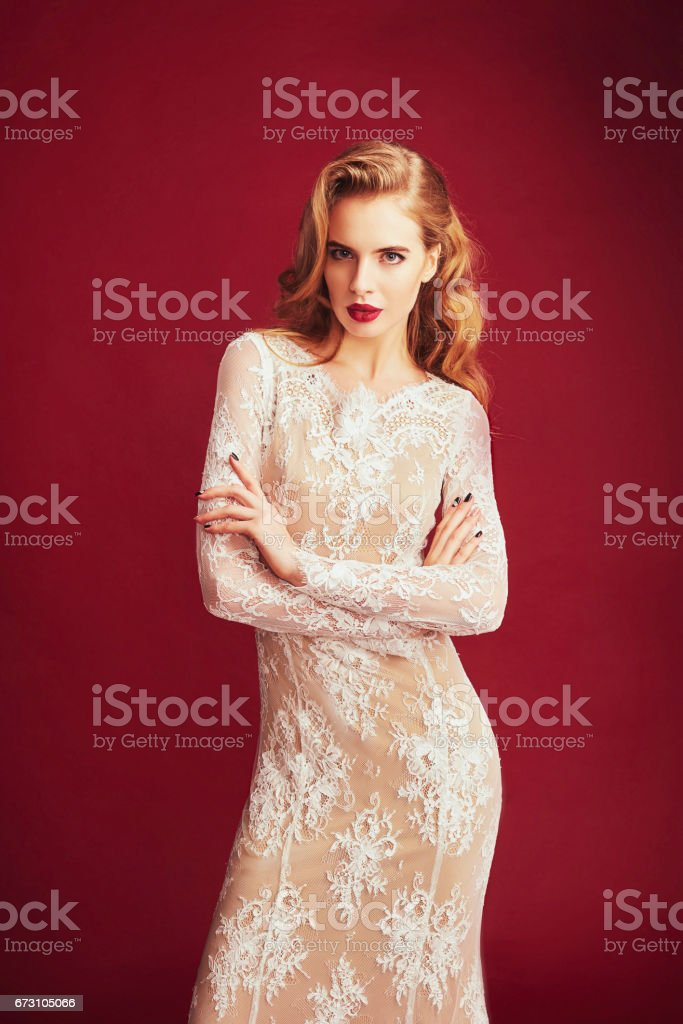 Portrait of a beautiful woman in elegant evening dress. Fashion shot. Hairstyle. stock photo