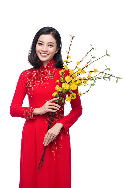 portrait of a beautiful woman on traditional festival costume - ao dai stock photos and pictures