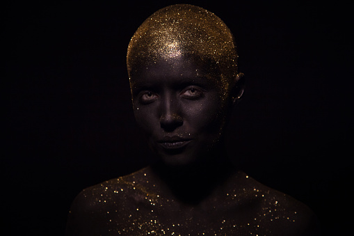 Portrait Of A Beautiful Woman With Creative Body Art Glowing Make Up Face Is Colored With Black Paint Stock Photo Download Image Now Istock