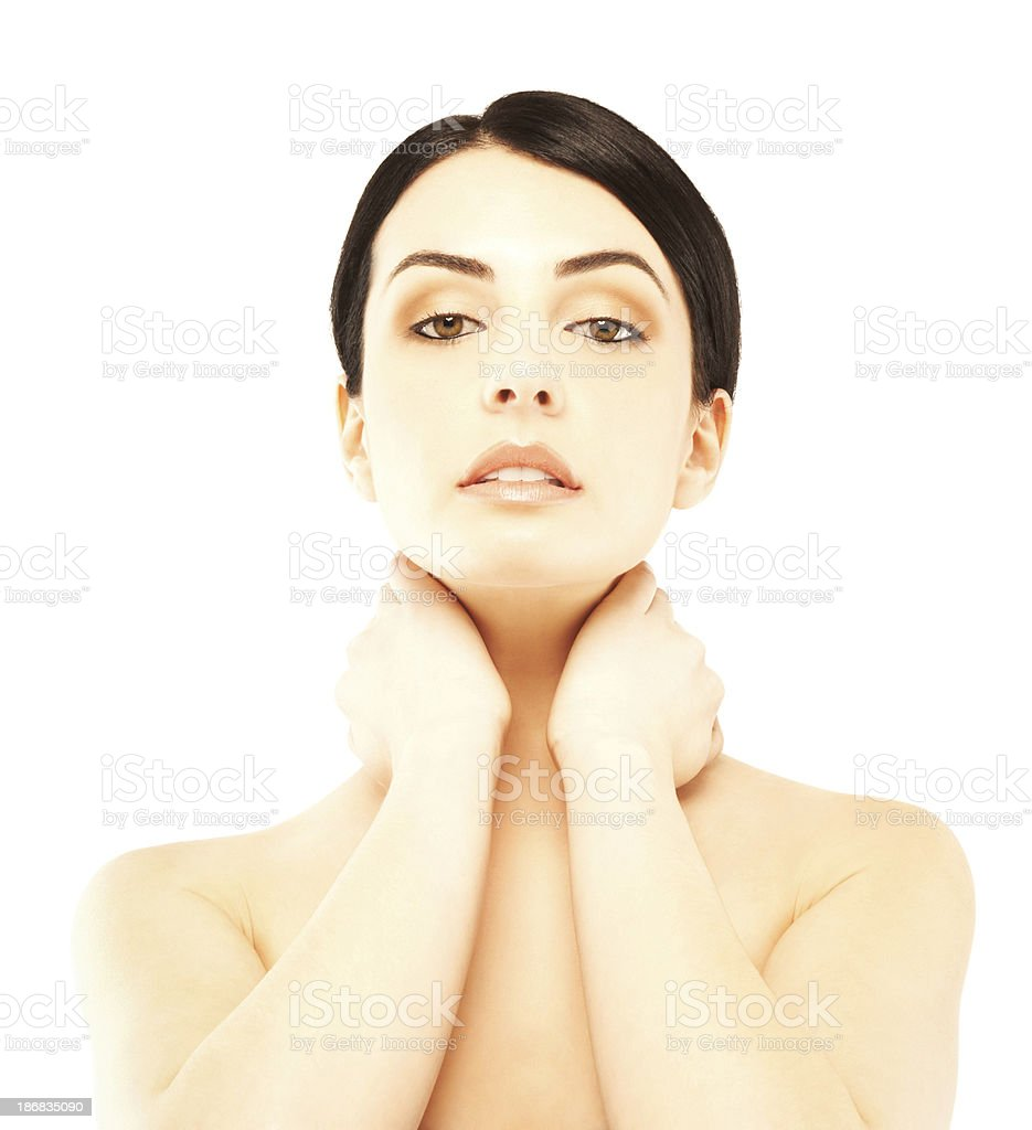 Portrait of a beautiful woman with hands on neck royalty-free stock photo