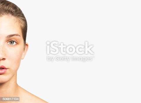 istock Portrait of a Beautiful Woman with Healthy Natural Face 506817104