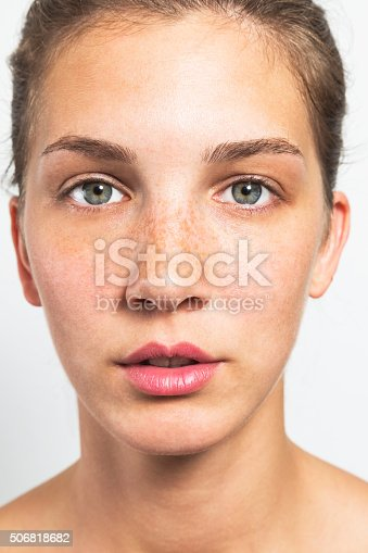 istock Portrait of a Beautiful Woman with Healthy Natural Face 506818682