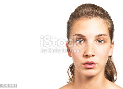 istock Portrait of a Beautiful Woman with Healthy Natural Face 506819686