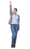 istock portrait of a beautiful woman with one hand raised 181366739