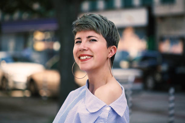 Portrait of a beautiful woman with short hair stock photo