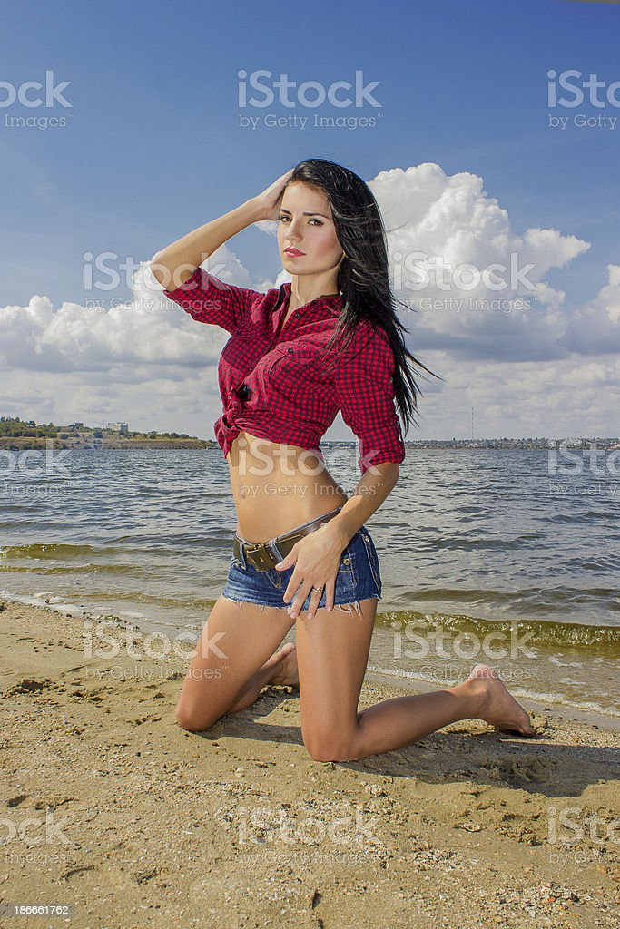 Portrait of a beautiful young brunette royalty-free stock photo